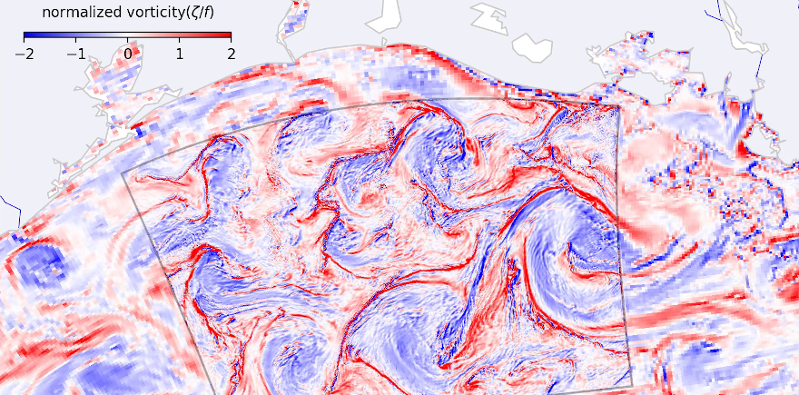 Normalized surface vorticity, coastal ocean off Texas and Louisiana, 2010