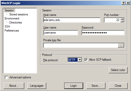 WinSCP Session