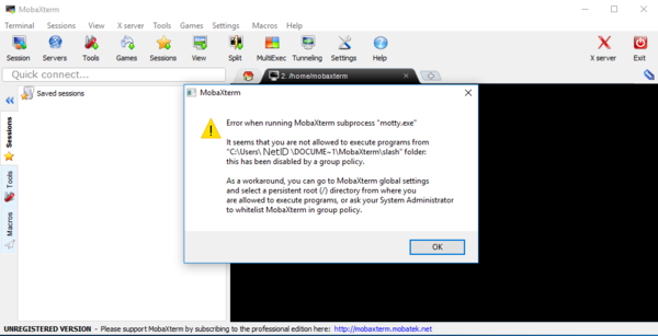 MobaXterm permission error message